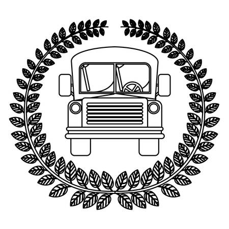 secondary: silhouette crown of leaves with school bus vector illustration