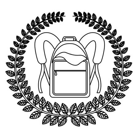 secondary: silhouette crown of leaves with school briefcase vector illustration Illustration