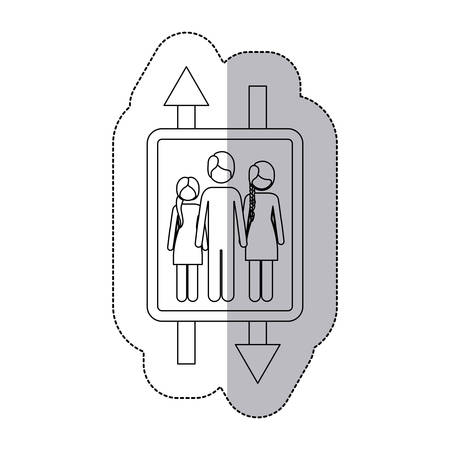 long hair boy: middle shadow monochrome sticker with double sign arrow with man and woman with braided hair and girl vector illustration
