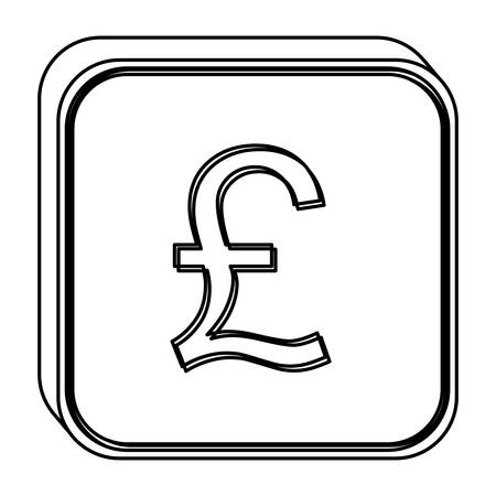 Silhouette With Currency Symbol Of Sterling Pound In Golden Vector