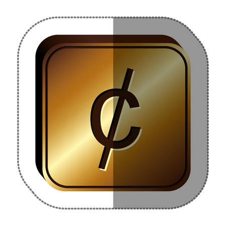 sticker golden square with currency symbol of cent vector illustration