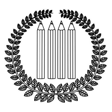 secondary: monochrome silhouette with olive crown with pencils set vector illustration