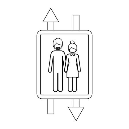 detour: monochrome contour with double sign arrow with man with beard and woman with collected hair vector illustration