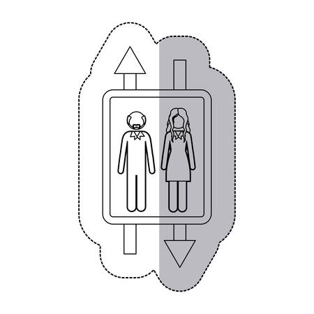 man long hair: middle shadow monochrome sticker with double sign arrow with bald man with beard and woman with long hair . Vector illustration