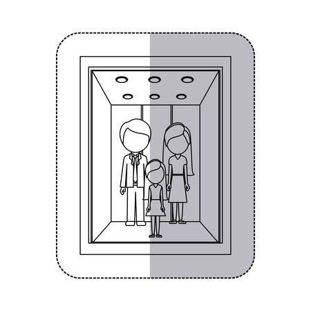 shadow people: middle shadow monochorme sticker with people in elevator vector illustration Illustration