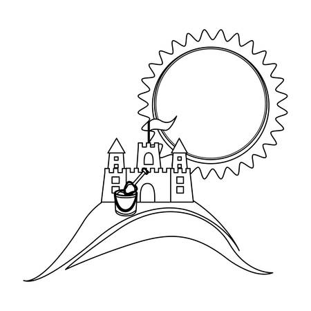 sand castle: monochrome contour with beach and sand castle and bucket vector illustration