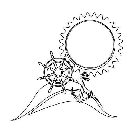 timon de barco: contorno blanco y negro con la playa y el timón y el ancla del barco. ilustración vectorial