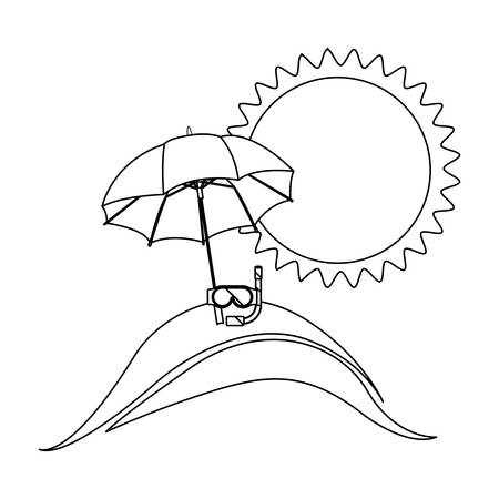 monochrome contour with beach and vacation objects vector illustration