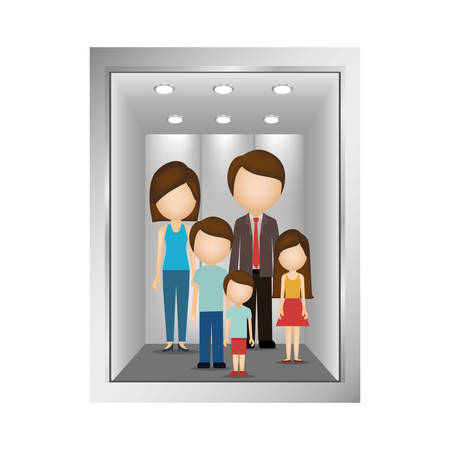 family: picture open building elevator with family inside vector illustration