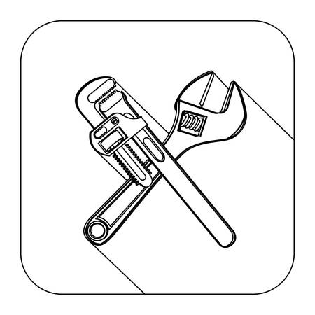 square shape with silhouette set wrench vector illustration
