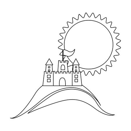 sand castle: silhouette background beach with sand castle and sun vector illustration Illustration