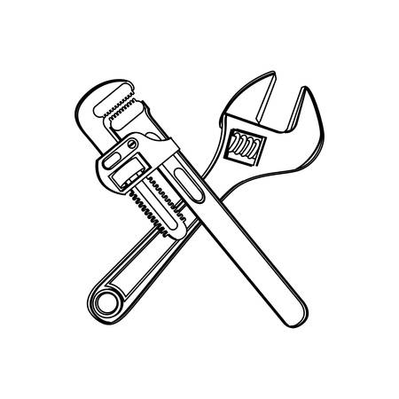 silhouette set collection wrench flat icon vector illustration