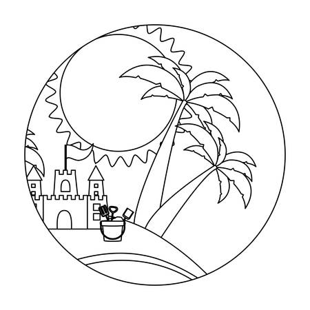 sand castle: circular shape with silhouette background beach with sand castle and bucket vector illustration