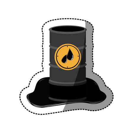 steel drum: sticker metallic barrel with petroleum vector illustration Illustration