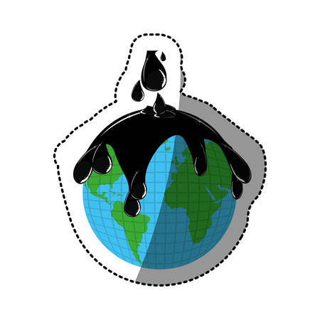 contamination: sticker earth contamination with rain of petroleum vector illustration