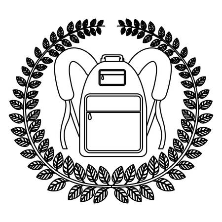 monochrome silhouette with olive crown with school briefcase vector illustration