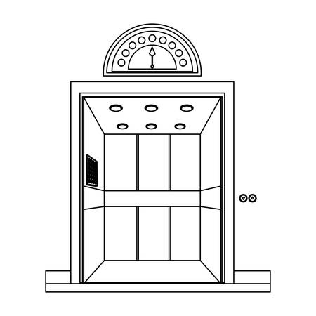 monochrome contour with elevator opened door vector illustration