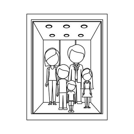 monochrome contour with family in elevator vector illustration Ilustração