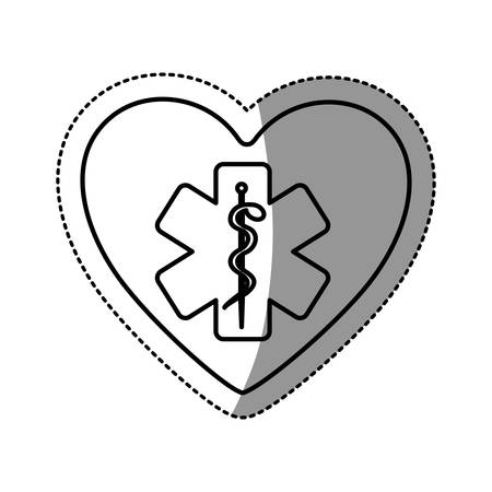 entwined: silhouette sticker in heart shape with cross health symbol with serpent entwined vector illustration