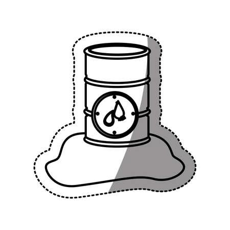steel drum: silhouette sticker metallic barrel with petroleum vector illustration