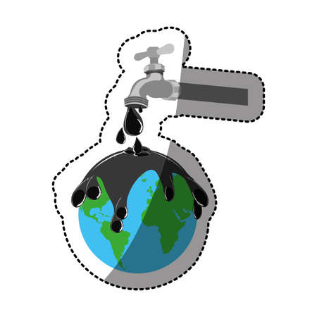 contamination: sticker watertap with earth contamination with rain of petroleum vector illustration Stock Photo