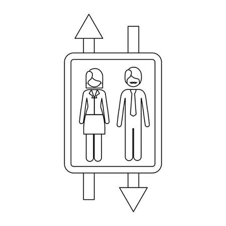 road shoulder: monochrome contour with double sign arrow with man with mustache and woman with short hair vector illustration