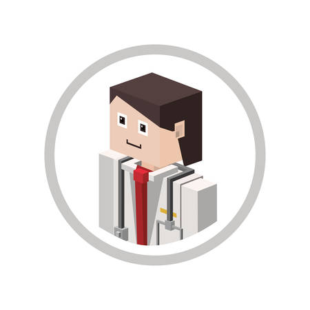 basic care: Doctor isometric avatar icon vector illustration graphic design