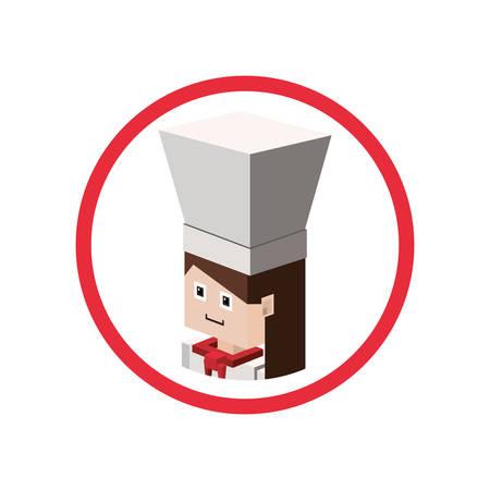 Chef isometric avatar icon vector illustration graphic design Illustration