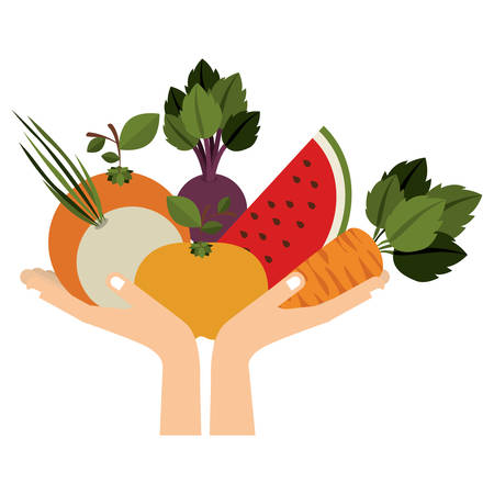 Fruits and vegetables icon vector illustration graphic design