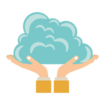 Hands holding a cloud icon vector illustration graphic design