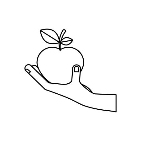 foodstuff: hand with fruit icon vector illustration graphic design