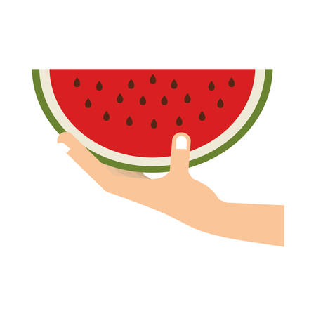 hand hold: hand with fruit icon vector illustration graphic design