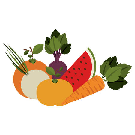 foodstuff: Fruits and vegetables icon vector illustration graphic design