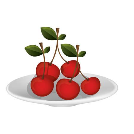 Delicious cherries fruits vector illustration graphic design
