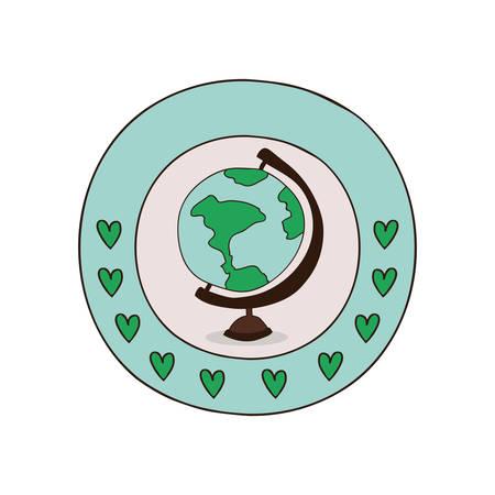globe terrestre dessin: School world globe vector illustration graphic design Illustration
