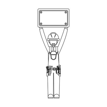 bilboard: Construction worker cartoon vector illustration graphic design Illustration