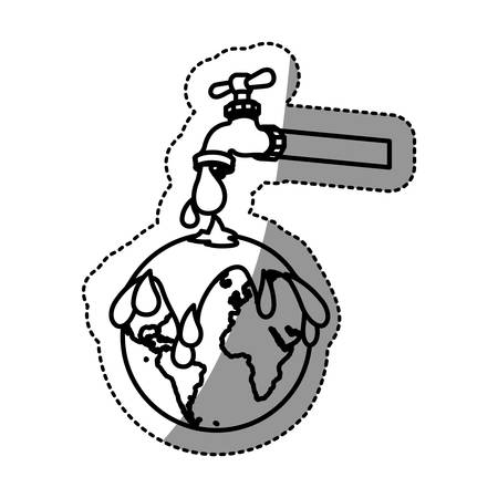monochrome contour sticker with watertap with earth contamination with rain of petroleum vector illustration Illustration