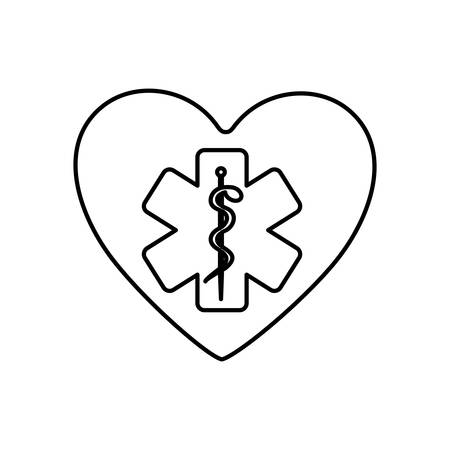 entwined: monochrome contour of heart with health symbol with star of life vector illustration Illustration