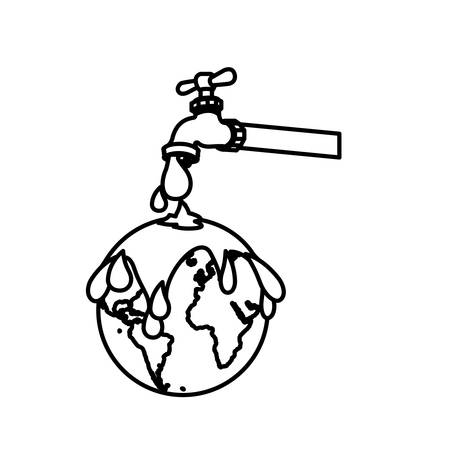 watertap: monochrome contour with watertap with earth contamination with rain of petroleum vector illustration Illustration