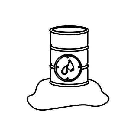 oil drum: monochrome contour with metallic barrel with petroleum vector illustration Illustration