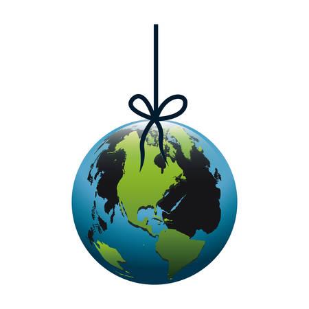 mundo contaminado: silueta colorida con mundo colgando de la cuerda y la mancha de ilustración vectorial de petróleo