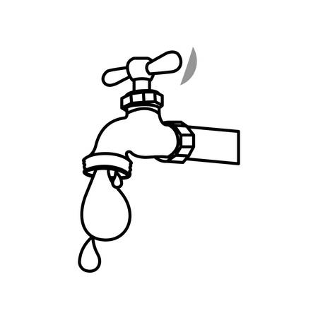 watertap: monochrome contour with watertap with drop of petroleum vector illustration Illustration