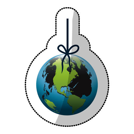 mundo contaminado: colorful silhouette sticker with world hanging on rope and stain petroleum vector illustration