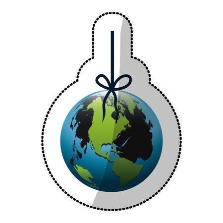 mundo contaminado: colorido silueta pegatina con el mundo colgando de cuerda y mancha de petróleo ilustración vectorial