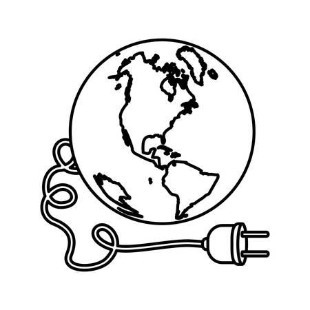 mundo contaminado: monocromo silueta con el mundo y el cable de alimentación con mancha de petróleo ilustración vectorial Vectores
