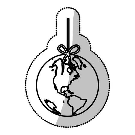 mundo contaminado: monochrome silhouette sticker with world hanging on rope and stain petroleum vector illustration