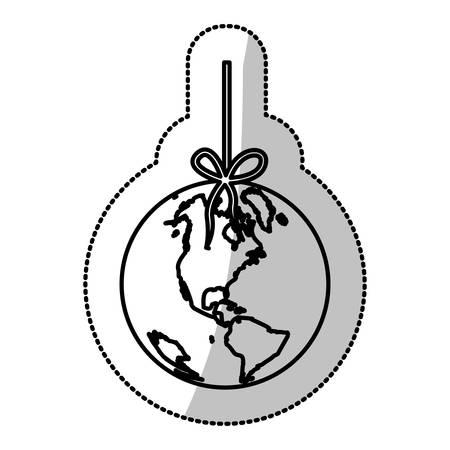 mundo contaminado: pegatina de silueta monocromo con el mundo colgando de cuerda y mancha de petróleo ilustración vectorial