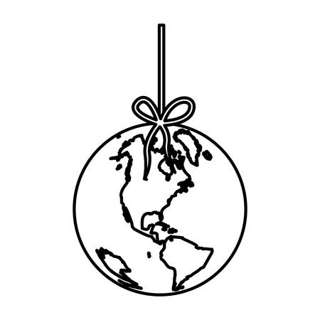 mundo contaminado: monochrome silhouette with world hanging on rope and stain petroleum