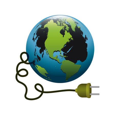 mundo contaminado: colorful silhouette with world and power cord with stain petroleum vector illustration