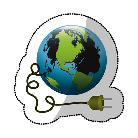 mundo contaminado: colorful silhouette sticker with world and power cord with stain petroleum vector illustration